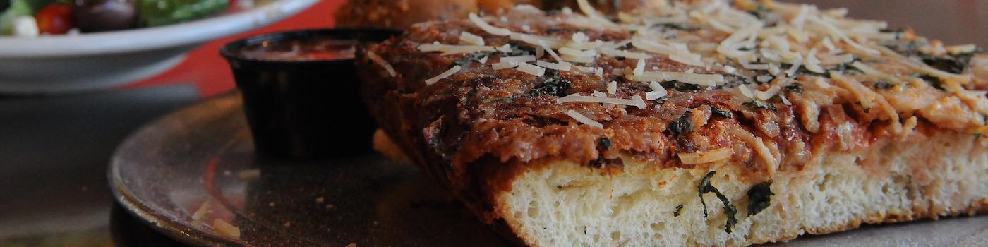 Slice of Sicilian pizza